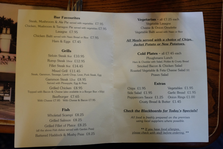 The Navigation Inn menu
