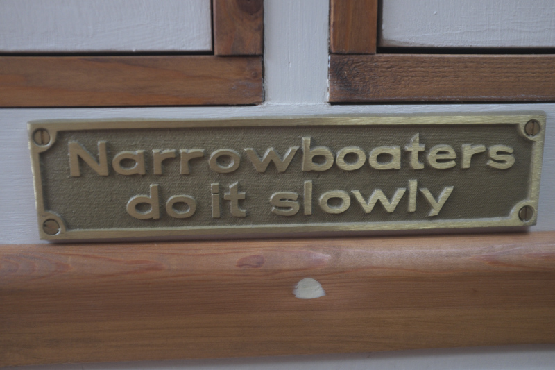 Narrowboaters do it slowly