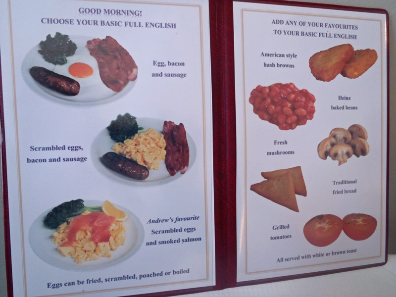 Harlingford Hotel Breakfast menu