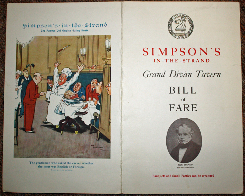 Simpson's in the Strand Menu